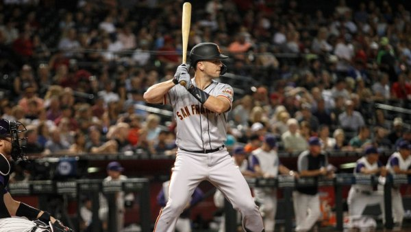Giants Diamondbacks Baseball, Phoenix, USA - 15 Aug 2019 San Francisco Giants' Buster Posey waits for a pitch from the Arizona Diamondbacks during the fifth inning of a baseball game, in Phoenix 15 Aug 2019 Image ID: 10362967k Featured in: Giants Diamondbacks Baseball, Phoenix, USA - 15 Aug 2019 Photo Credit: Darryl Webb/AP/Shutterstock