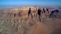 Aerial view of the Rum Mountains. Wadi is an Arabic term referring to a valley. | Location: Jordan.