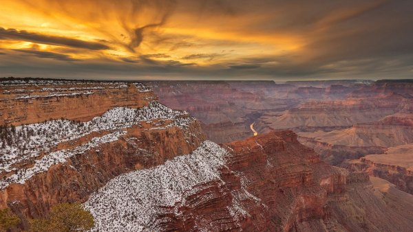 USA, Arizona, Grand Canyon, National Park, UNESCO, World Heritage, sunset along the South rim. (Photo by: Prisma by Dukas/UIG via Getty Images)