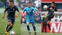 L: Roger Espinoza #27 of Sporting Kansas City, Middle: Goalkeeper David Bingham of Los Angeles Galaxy, R: Nick Lima #24 of San Jose Earthquakes