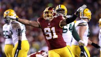 Outside linebacker Ryan Kerrigan #91 of the Washington Redskins celebrates a missed field goal by the Green Bay Packers in the third quarter at FedExField on November 20, 2016 in Landover, Maryland.