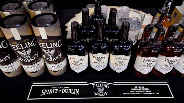 Bottles of Teeling Whiskey on display at Southern Glazer's Wine & Spirits Trade Day presented by Beverage Media at Pier 94 on October 14, 2016 in New York City.