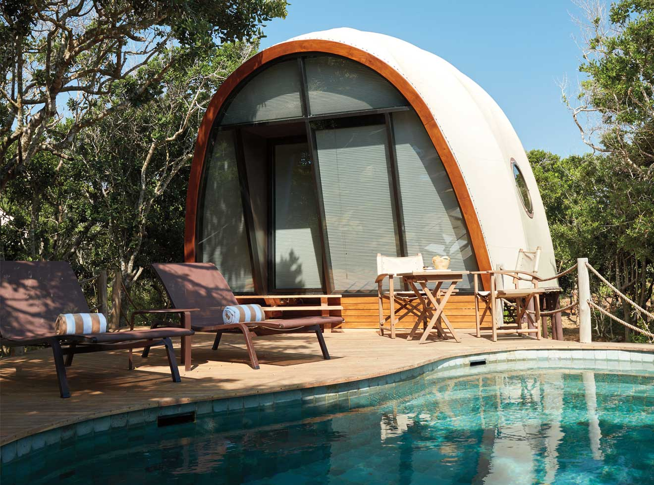 Cocoon and private plunge pool at Wild Coast Lodge