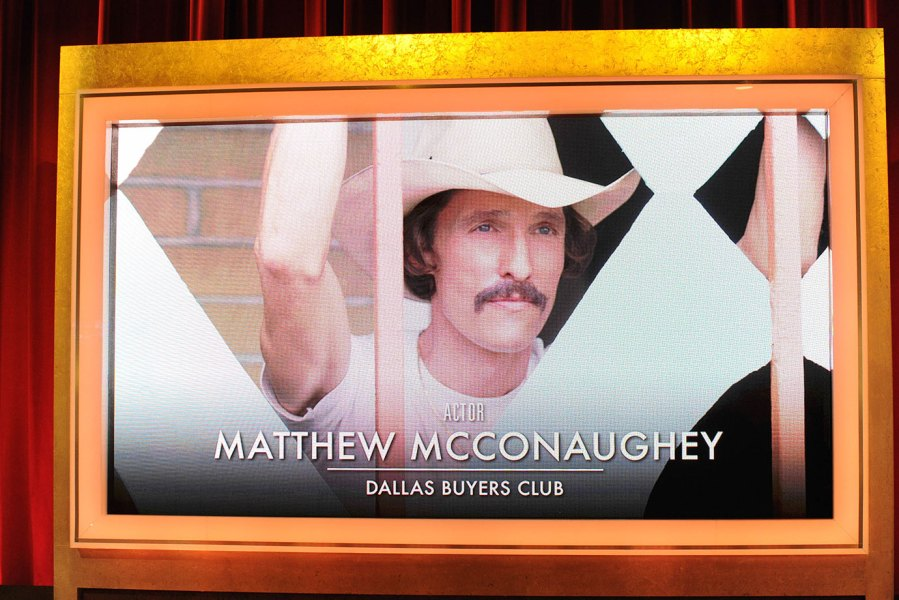 A screen shows Matthew McConaughey as the Oscar nominee for best actor for his role in the 'Dallas Buyers Club' at the 86th Academy Awards Nominations Announcement at AMPAS Samuel Goldwyn Theater on January 16, 2014 in Beverly Hills, California. (Photo by Allen Berezovsky/WireImage)