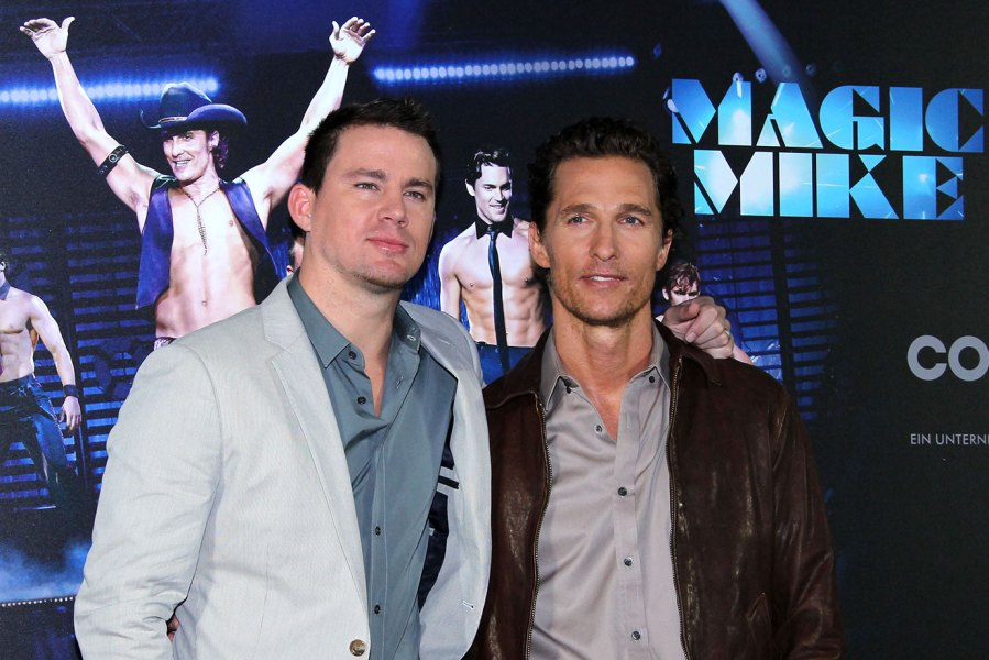 Actors Channing Tatum and Matthew McConaughey attend the 'Magic Mike' photocall at Hotel De Rome on July 12, 2012 in Berlin, Germany. (Photo by Anita Bugge/WireImage)