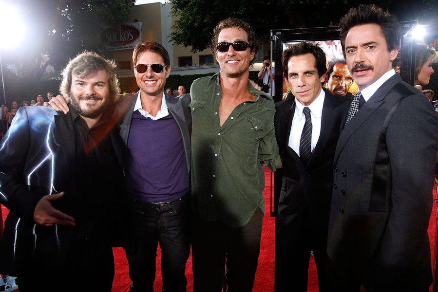 Actors Jack Black, Tom Cruise, Matthew McConaughey and Ben Stiller arrive on the red carpet of the Los Angeles Premiere Of 'Tropic Thunder' at the Mann's Village Theater on August 11, 2008 in Los Angeles, California. (Photo by Jeff Vespa/WireImage)