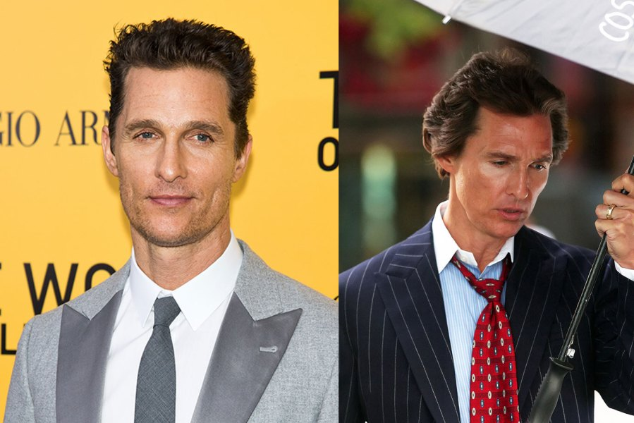 L: Actor Matthew McConaughey attends the 'The Wolf Of Wall Street' premiere at Ziegfeld Theater on December 17, 2013 in New York City. (Photo by Gilbert Carrasquillo/FilmMagic), R: Matthew McConaughey is seen on the set of 'The Wolf of Wall Street' on August 27, 2012 in New York City. (Photo by DISCIULLO/Bauer-Griffin/GC Images