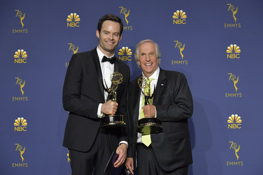 Bill Hader and Henry Winkler in press room during the 70th Emmy Awards on September 17, 2018 in Los Angeles, California. (Photo by Neilson Barnard/FilmMagic)