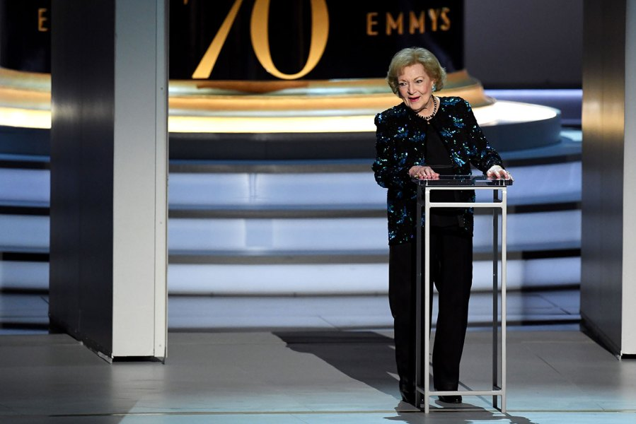 Betty White speaks onstage during the 70th Emmy Awards at Microsoft Theater on September 17, 2018 in Los Angeles, California. (Photo by Kevin Winter/Getty Images)