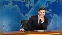 Pictured: Colin Jost during 'Weekend Update' in Studio 8H on Saturday, October 14, 2017 -- (Photo by: Will Heath/NBC/NBCU Photo Bank via Getty Images)