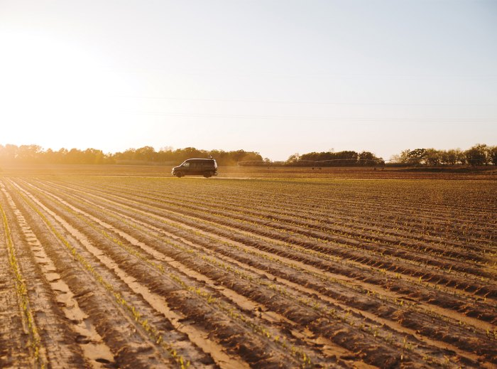 One of HogSWAT's two souped-up vans flies across a field a few miles outside of Americus, Georgia.