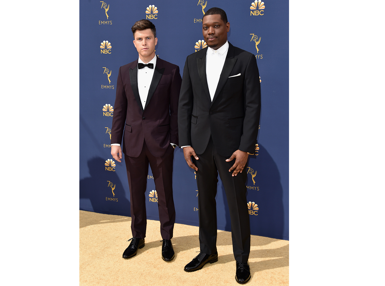 Colin Jost (L) and Michael Che attend the 70th Emmy Awards at Microsoft Theater on September 17, 2018 in Los Angeles, California.