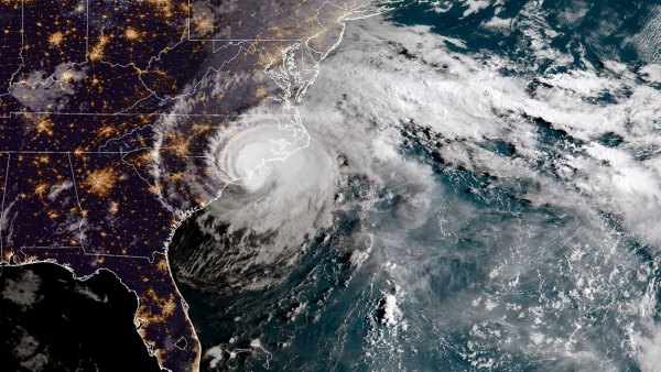 In this NOAA satellite handout image , shows Hurricane Florence as it made landfall near Wrightsville Beach, North Carolina on September 14, 2018. The National Hurricane Center reported Florence had sustained winds of 90 mph at landfall and was moving slowly westward at 6 mph. (Photo by NOAA via Getty Images)