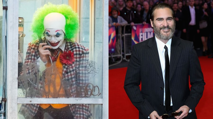 L: Joaquin Phoenix is seen filming a scene for 'Joker' in Brooklyn on September 24, 2018 in New York City. (Photo by Gotham/GC Images), R: Actor Joaquin Phoenix attends the Headline Gala Screening and UK Premiere of 'You Were Never Really Here' during the 61st BFI London Film Festival at the Odeon Leicester Square on October 14, 2017 in London, England. (Photo by Tim P. Whitby/Getty Images for BFI)