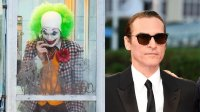 L: Joaquin Phoenix is seen filming a scene for 'Joker' in Brooklyn on September 24, 2018 in New York City. (Photo by Gotham/GC Images), R: Joaquin Phoenix attends the 'The Sister Brothers - Les Freres Sisters' film premiere on September 4, 2018 in Deauville, France. (Photo by Pascal Le Segretain/Getty Images)