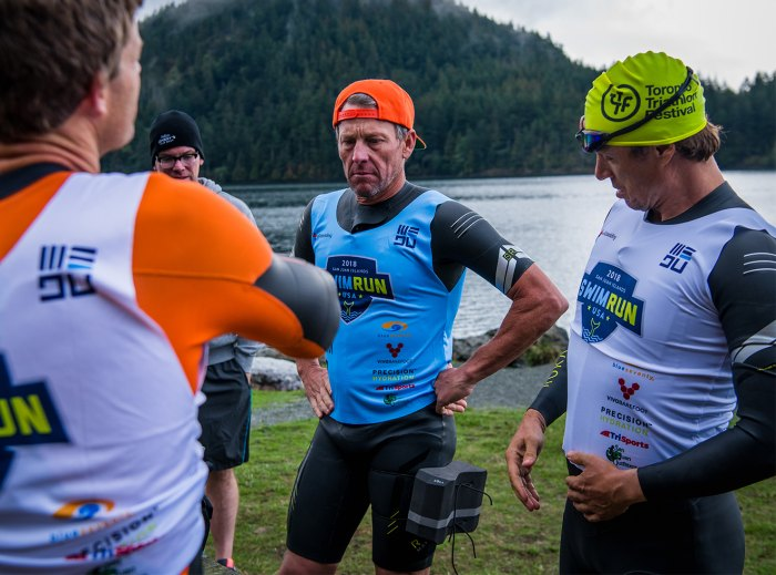 Lance Armstrong and Simon Whitfield pre-race