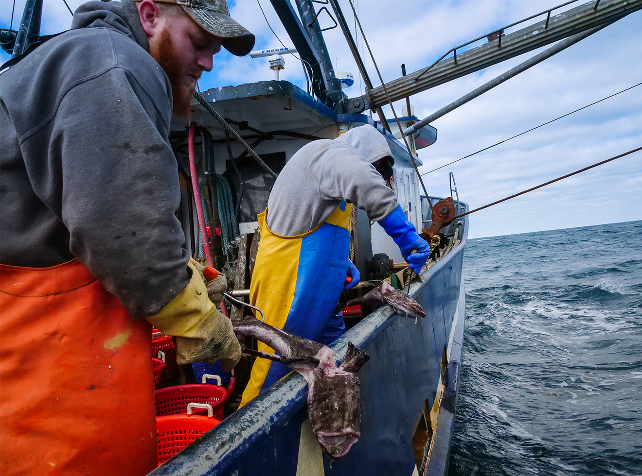 More than 100 miles offshore, brothers Dave Smith (left) and Ryan Smith clean monkfish on Rhonda Denise.