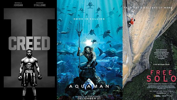 Posters for Creed 2, Aquaman, and Free Solo Movies