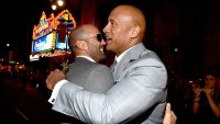 Actors Jason Statham (L) and Dwayne 'The Rock' Johnson attend Universal Pictures' 'Furious 7' premiere at TCL Chinese Theatre on April 1, 2015 in Hollywood, California. (Photo by Alberto E. Rodriguez/Getty Images)