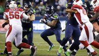 Cardinals Seahawks Football, Seattle, USA Marshawn Lynch Seattle Seahawks running back Marshawn Lynch (24) runs against the Arizona Cardinals during the first half of an NFL football game, in Seattle 15 Nov 2015