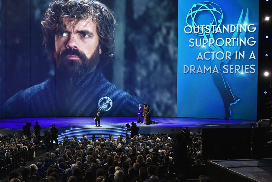 Peter Dinklage accepts the award for Outstanding Supporting Actor in a Drama Series, 'Games of Thrones' from presenters Samantha Bee and Taraji P. Henson onstage during the 70th Emmy Awards at Microsoft Theater on September 17, 2018 in Los Angeles, California. (Photo by Lester Cohen/WireImage)