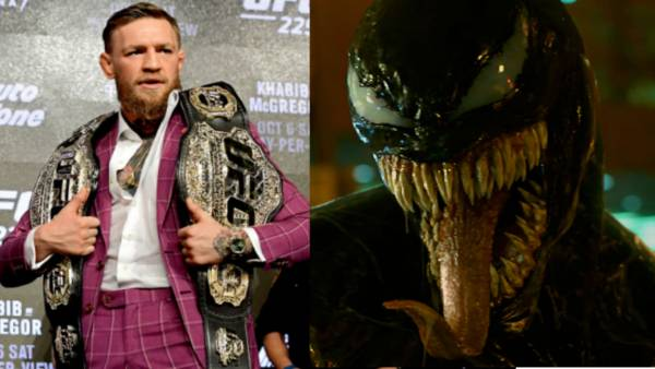 L: Conor McGregor poses for photos during the UFC 229 Press Conference at Radio City Music Hall on September 20, 2018 in New York City. (Photo by Steven Ryan/Getty Images), R: Venom Still from Sony/Marvel