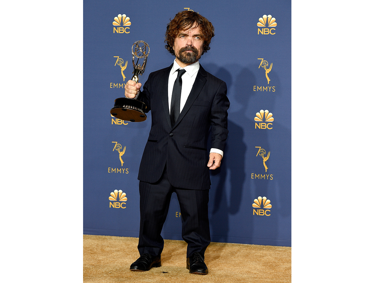 Peter Dinklage poses with the Outstanding Supporting Actor in a Drama Series for 'Game of Thrones' during to the 70th Annual Primetime Emmy Awards held at the Microsoft Theater on September 17, 2018.