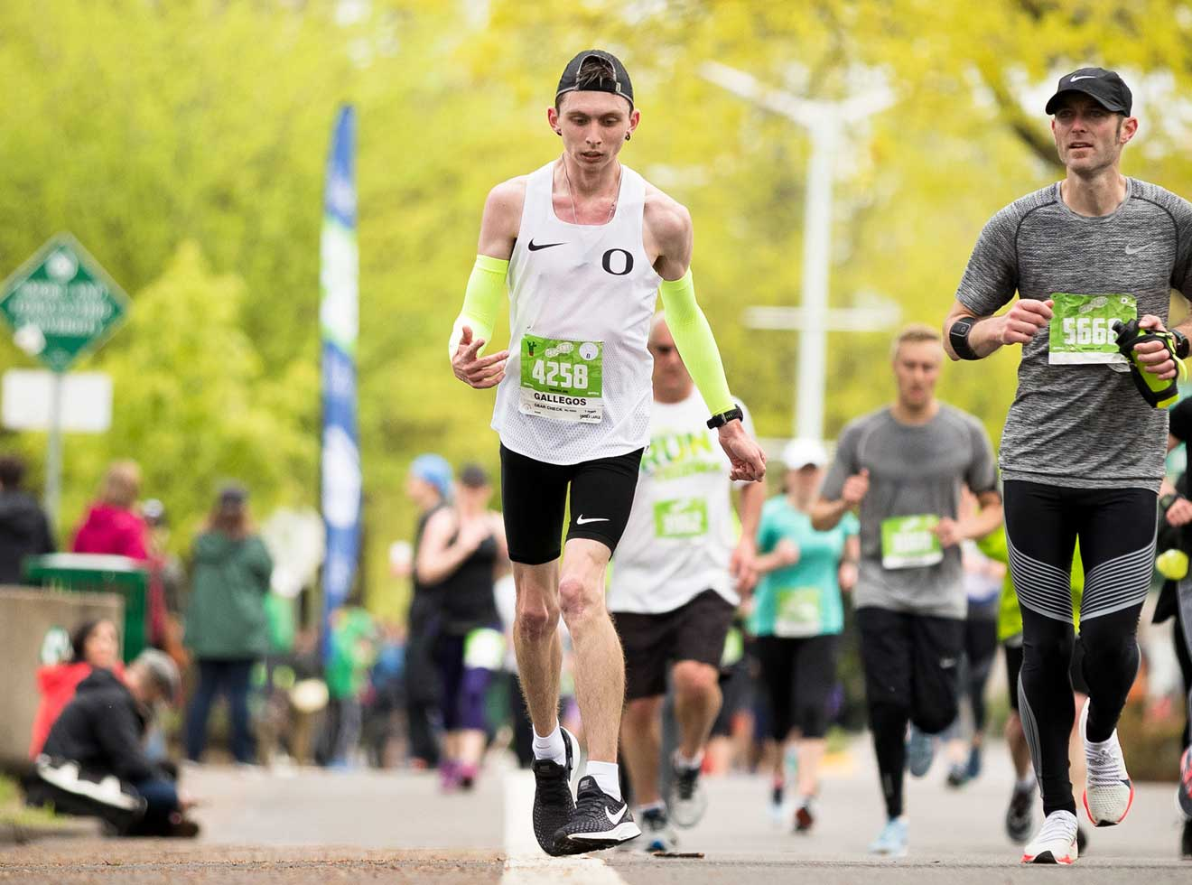 Justin Gallegos running half-marathon on Eugene, OR