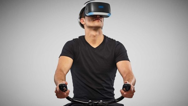 Man working out with virtual reality headset