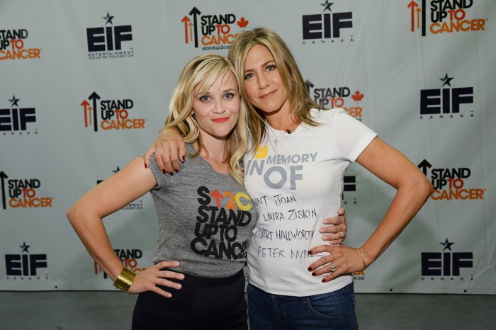 REESE WITHERSPOON, JENNIFER ANISTON attend Stand Up To Cancer (SU2C), a program of the Entertainment Industry Foundation (EIF), staging its fourth biennial fundraising telecast at the at the Dolby Theatre on Friday September 5, 2014 (8:00-9:00 p.m., ET/PT) in Hollywood California. (Photo by Kevin Mazur/American Broadcasting Companies Inc via WireImage)