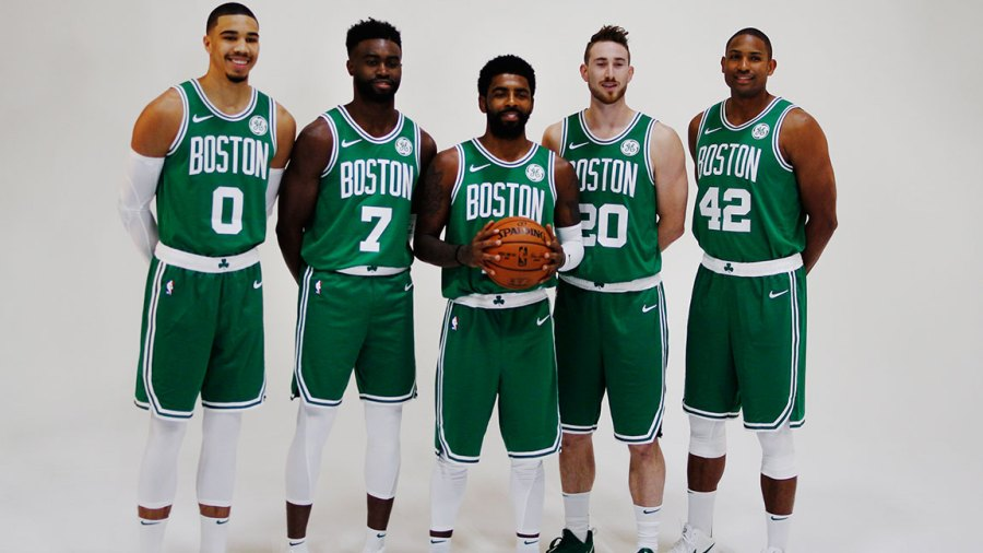From left, Boston Celtics' Jayson Taytum, Jaylen Brown, Kyrie Irving, Gordon Hayward and Al Horford pose for a team photo on Boston Celtics media day in Canton, MA on Sep. 24, 2018. (Photo by Michael Swensen for The Boston Globe via Getty Images)