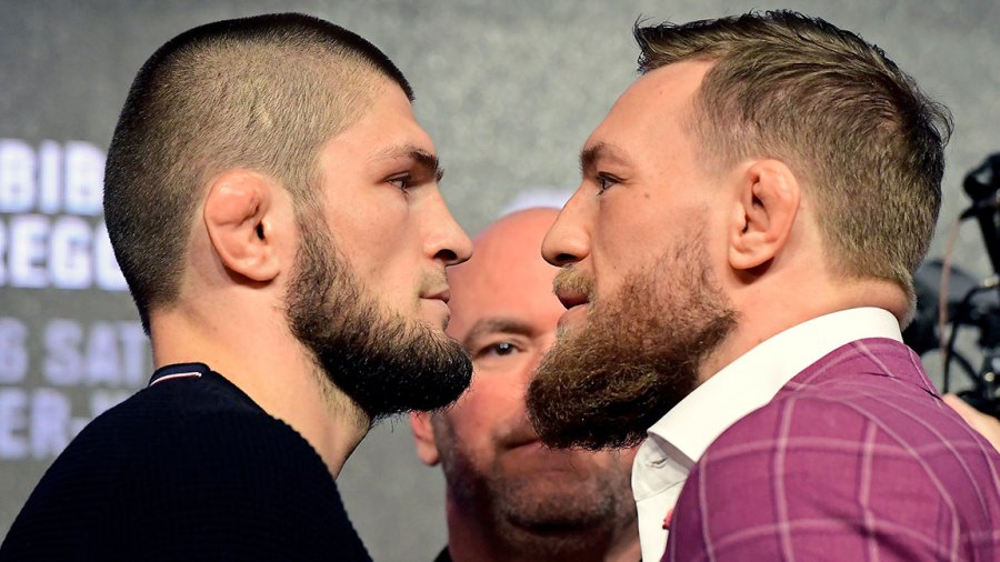 Lightweight champion Khabib Nurmagomedov faces-off with Conor McGregor during the UFC 229 Press Conference at Radio City Music Hall on September 20, 2018 in New York City. (Photo by Steven Ryan/Getty Images)