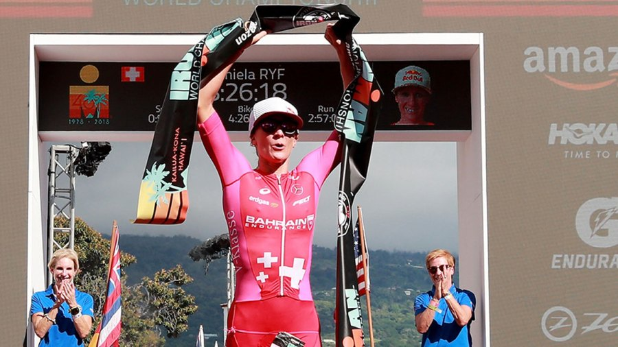 Daniela Ryf of Switzerland celebrates after setting the course record of 8:26:16 to win the IRONMAN World Championships brought to you by Amazon on October 13, 2018 in Kailua Kona, Hawaii. (Photo by Al Bello/Getty Images for IRONMAN)