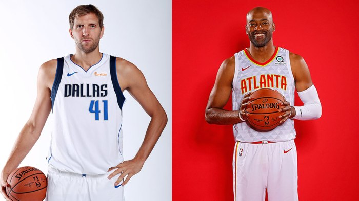 Dirk Nowitzki #41 of the Dallas Mavericks poses for a portrait during the Dallas Mavericks Media Day held at American Airlines Center on September 21, 2018 in Dallas, Texas., Vince Carter #15 of the Atlanta Hawks poses for portraits during media day at Emory Sports Medicine Complex on September 24, 2018 in Atlanta, Georgia