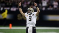 Drew Brees #9 of the New Orleans Saints reacts after throwing a 62 yard pass to take the all time yardage record against the Washington Redskins at Mercedes-Benz Superdome on October 8, 2018 in New Orleans, Louisiana. (Photo by Chris Graythen/Getty Images)