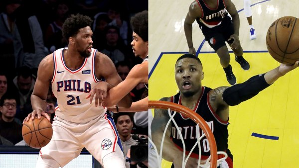 Portland Trail Blazers at Golden State Warriors, Oakland, USA - 19 Apr 2017 Damian Lillard 19 Apr 2017, Philadelphia 76ers at Brooklyn Nets, New York, USA - 31 Jan 2018 Joel Embiid and Jarrett Allen 31 Jan 2018