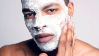 Man in facial mask