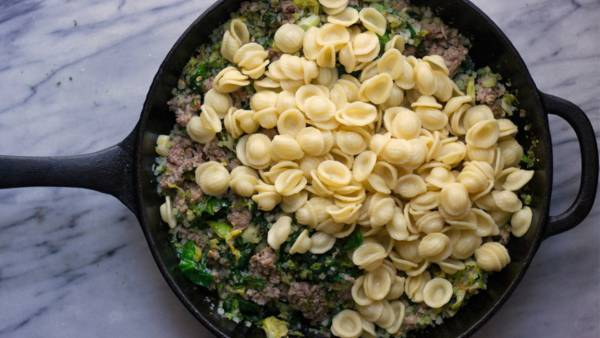 Pasta, Brussels Sprouts, and Sausage Skillet