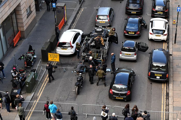 Crew gather in Cochrane Street as filming of Fast and the Furious spinoff continues on October 26, 2018 in Glasgow, Scotland. The Universal Pictures film stars Jason Statham, Dwayne Johnson and Idris Elba and has a crew of 200 working on it in the city until the 29th of October. (Photo by Jeff J Mitchell/Getty Images)