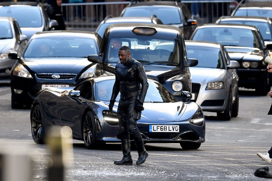 Idris Elba on set in George Square as filming of Fast and the Furious spinoff continues on October 26, 2018 in Glasgow, Scotland. The Universal Pictures film stars Jason Statham, Dwayne Johnson and Idris Elba and has a crew of 200 working on it in the city until the 29th of October. (Photo by Jeff J Mitchell/Getty Images)