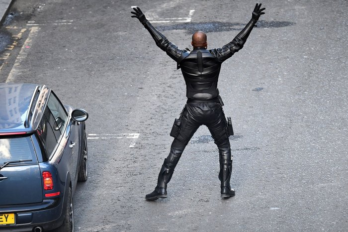 A stunt double on a Triumph motorcycle in Cochrane Street as filming of Fast and the Furious spinoff continues on October 26, 2018 in Glasgow, Scotland. The Universal Pictures film stars Jason Statham, Dwayne Johnson and Idris Elba and has a crew of 200 working on it in the city until the 29th of October. (Photo by Jeff J Mitchell/Getty Images)