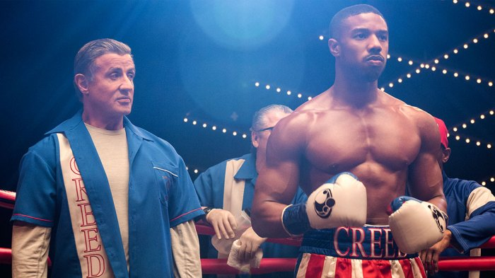 Michael B. Jordan stars as Adonis Creed with Sylvester Stallone, Dolph Lundgren, Florian Munteanu, and Tessa Thompson / Barry Wetcher / Metro Goldwyn Mayer Pictures / Warner Bros. Pictures