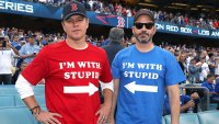 Matt Damon and Jimmy Kimmel attend The Los Angeles Dodgers Game - World Series - Boston Red Sox v Los Angeles Dodgers - Game Five at Dodger Stadium on October 28, 2018 in Los Angeles, California. (Photo by Jerritt Clark/Getty Images)