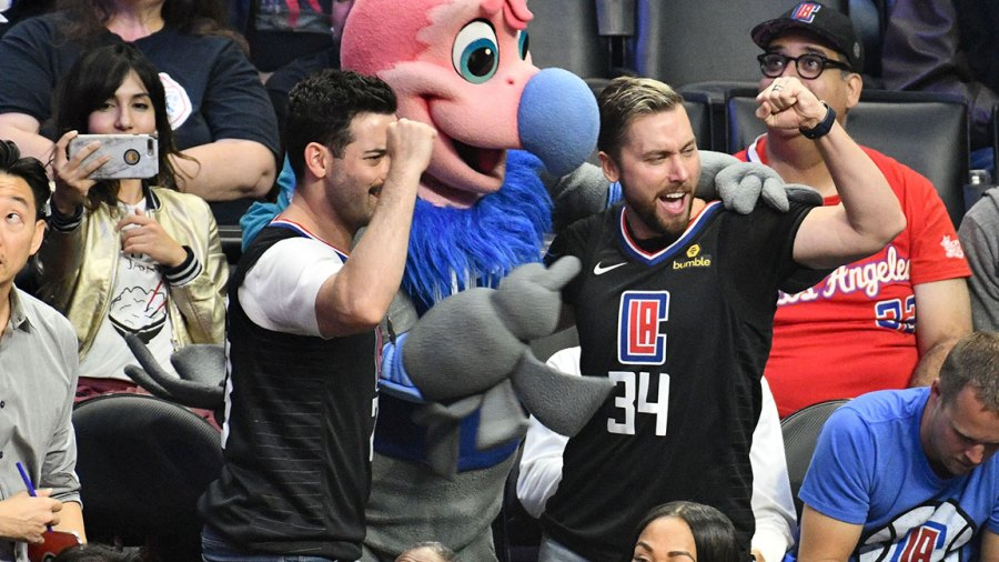 Singer Lance Bass (R) and Michael Turchin attend a basketball game between the Los Angeles Clippers and the Washington Wizzards at Staples Center on October 28, 2018 in Los Angeles, California. (Photo by Allen Berezovsky/Getty Images)