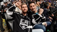 Singer Lance Bass and and actor Michael Turchin pose while watching the game between the Los Angeles Kings and the New York Rangers at STAPLES Center on October 28, 2018 in Los Angeles, California. (Photo by Noah Graham/NHLI via Getty Images)