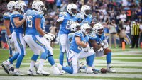 Los Angeles Chargers pose after scoring a touchdown in the second quarter against the Oakland Raiders at StubHub Center on October 7, 2018 in Carson, California. (Photo by Sean M. Haffey/Getty Images)