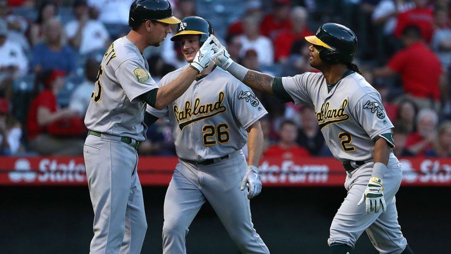 ANAHEIM, CA - SEPTEMBER 29: Khris Davis #2 of the Oakland Athletics celebrates his two-run homerun with Stephen Piscotty #25 as Matt Chapman #26 looks on during the first inning of the MLB game against the Los Angeles Angels of Anaheim at Angel Stadium on September 29, 2018 in Anaheim, California. (Photo by Victor Decolongon/Getty Images)