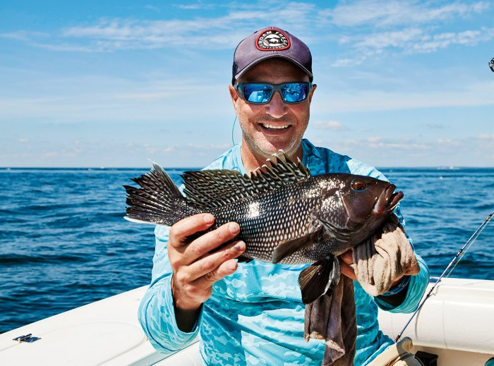 Colicchio he landed with a black sea bass he landed off Long Island.