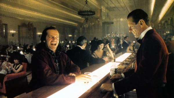 Jack Nicholson with bartender Joe Turkel in lobby card for the film 'The Shining', 1980. (Photo by Warner Brothers/Getty Images)