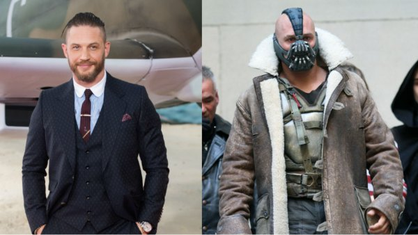 L: Tom Hardy arriving at the 'Dunkirk' World Premiere at Odeon Leicester Square on July 13, 2017 in London, England. (Photo by Samir Hussein/WireImage), R: Actor Tom Hardy is seen in costume as Bane on the set of 'The Dark Knight Rises' on location on Wall Street on November 5, 2011 in New York City. (Photo by Marcel Thomas/FilmMagic)